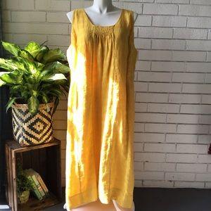 Eileen Fisher   Bright Yellow Linen Maxi Dress